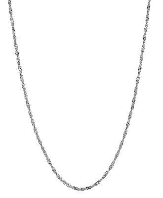 "14K Solid White Gold Singapore Rope Sparkle Chain 1.7mm 16"", 18"", 20"""