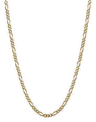 "14K Solid Yellow Gold Figaro Chain Necklace 3.1mm 16"", 18"", 20"", 22"", 24"", 30"""
