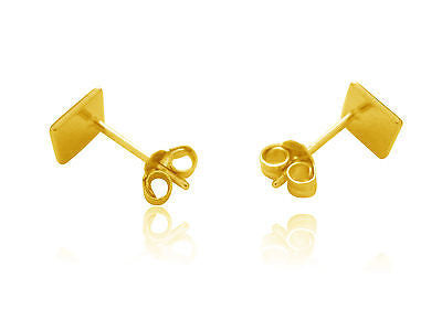 Fine Jewelry 14k Gold Overlay Sterling Silver Geometric Square Flat Shiny Stud Earrings 6x6mm Jewelry & Watches
