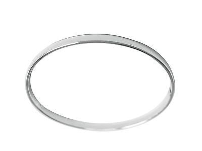 Sterling Silver Shiny Flat Slip On Bangle Bracelet 4mm 8""