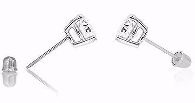 14k White Gold 8mm Cubic Zirconia Stud Earrings 4ct Basket Setting Screw Back