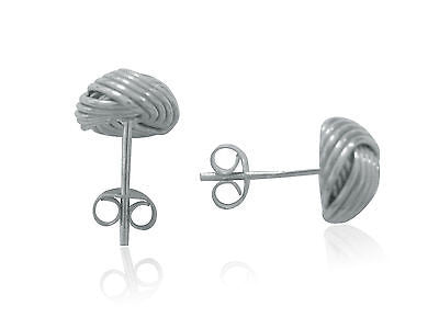 Sterling Silver Love Knot Loveknot Stud Earrings 9mm