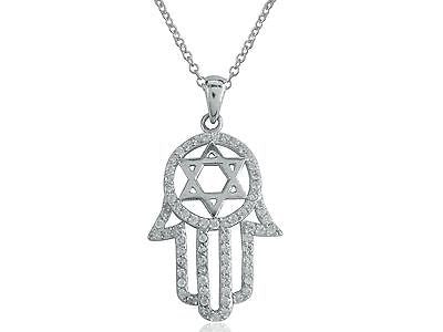 Sterling Silver CZ Hamsa Star of David Pendant Charm Necklace 32x18mm 18""