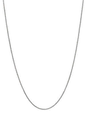 "14K Solid White Gold Gourmette Chain Necklace 1mm 16"", 18"", 20"""