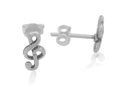 Sterling Silver G Clef Treble Music Note Stud Earrings 10x5mm