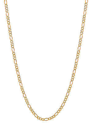 "14K Solid Yellow Gold Figaro Chain Necklace 2.8mm 16"", 18"", 20"", 22"", 24"""