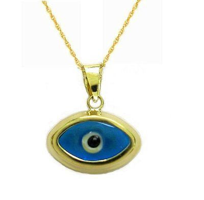 14k Yellow Gold Blue Evil Eye Good Luck Pendant Charm Necklace 18""