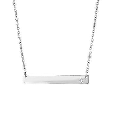 Sterling Silver Single CZ Bar Pendant Necklace 18""