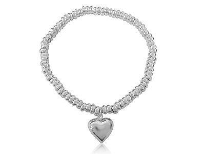 "Sterling Silver Beaded Heart Bead Bracelet 8"" Stretchable"