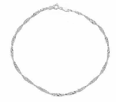 "14k White Gold Sparkle Singapore Chain Anklet Bracelet 10"" 1.5mm"