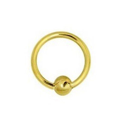 14K Solid Yellow Gold Nipple Captive Ball Closure Bead Ring Body Jewelry 17mm