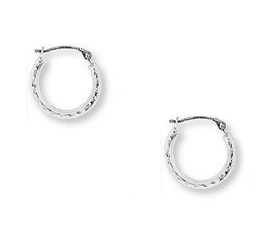 14k White Gold Baby Hoops Hoop Earrings Tubular 2x12mm Diamond Cut
