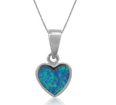 Sterling Silver Created Opal Heart Love Charm Pendant Necklace 18""
