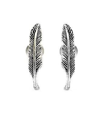 .925 Sterling Silver Feather Stud Earrings 15mm Long Small