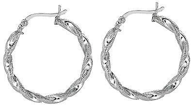 Sterling Silver Small Twisted Textured Tubular Hoops Hoop Earrings 3mm x 20mm