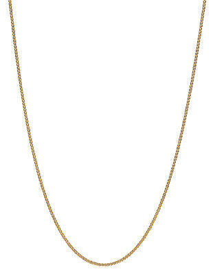 "14K Solid Yellow Gold Round Wheat Chain Necklace 1.2mm 16"",18"",20"",24"""
