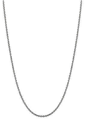 "14K Solid Gold White Cable Chain Necklace 14"" 1.5mm"