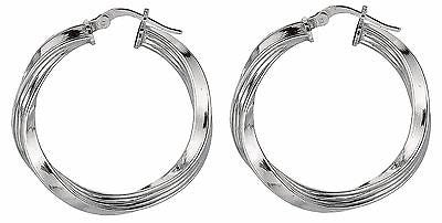 Sterling Silver Twisted Tubular Hoops Hoop Earrings 3mmx25mm
