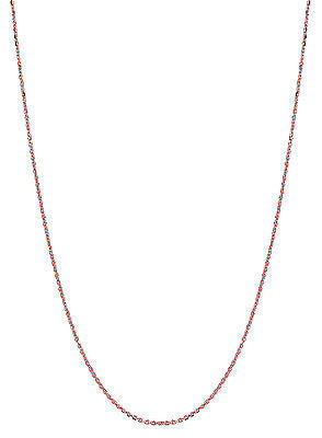 "14K Solid Rose Pink Gold Cable Link Chain Necklace 0.8mm 16"",18"", 20"""