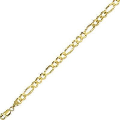 "10k Real Yellow Gold 7mm Figaro Link Chain Men's Bracelet 8.5"" inch"