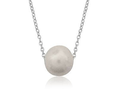 "Sterling Silver Fresh Water Cultured Pearl Sliding Necklace 14""-18"" Adjustable"