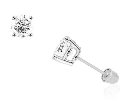 14k White Gold 7mm Cubic Zirconia Stud Earrings 3ct Basket Setting Screw Back