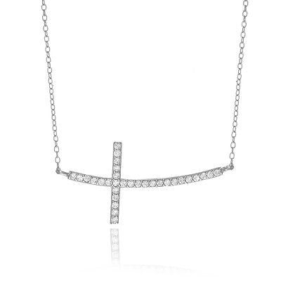 "Sterling Silver Curved Sideways Cz Cross Necklace 16""-18"" Adjustable"