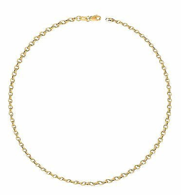 14K Solid Yellow Gold Rolo Link Chain Bracelet 7""