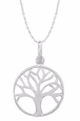 Sterling Silver Tree Of Life Pendant Round Charm Necklace 18""