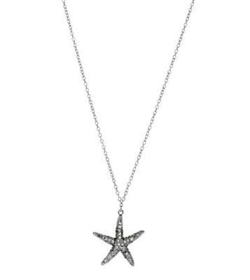 .925 Sterling Silver CZ Starfish Pendant Necklace 18""