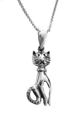 .925 Sterling Silver Cat Kitty Kitten Charm Pendant Necklace 18""
