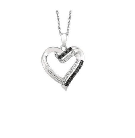 .925 Sterling Silver Black Diamond Open Heart Necklace Pendant 0.12ct 18""