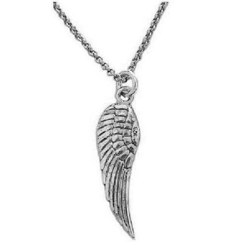 .925 Sterling Silver Angel Wing Charm Necklace  18""
