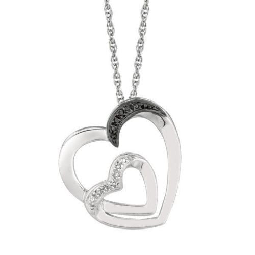 .925 Sterling Silver Black Diamond Double Heart Necklace Pendant 0.03ct 18""