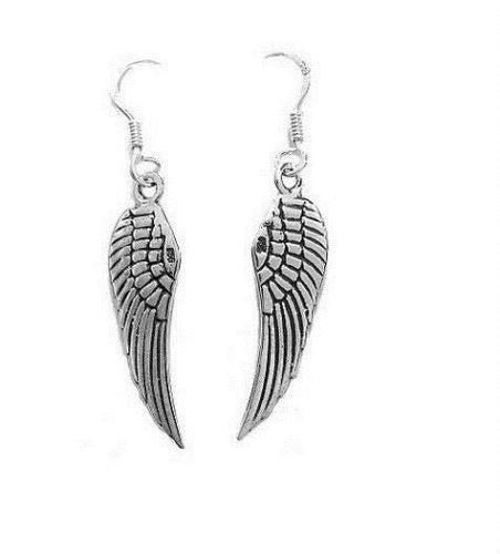 .925 Sterling Silver Angel Wing Wings Dangling Earrings Kidney wire