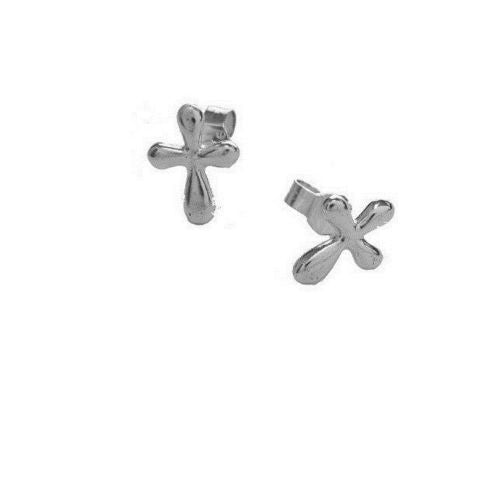 .925 Sterling Silver Cross Post Stud Earrings Small