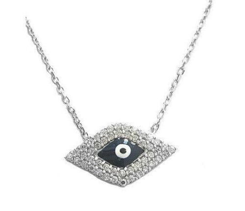 .925 Sterling Silver Evil Eye Adjustable Good Luck CZ Pendant Charm Necklace 18""