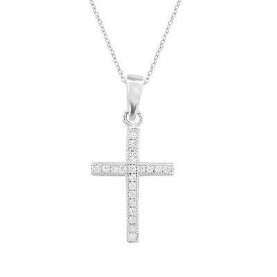 ".925 Sterling Silver CZ Baby Kids Cross Pendant 16"" Necklace"