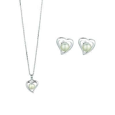 Sterling Silver Fresh Water Cultured Pearl CZ Heart Necklace & Earrings Set