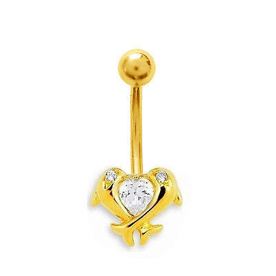 14k Real Gold Yellow Dolphin Belly Button Navel Ring