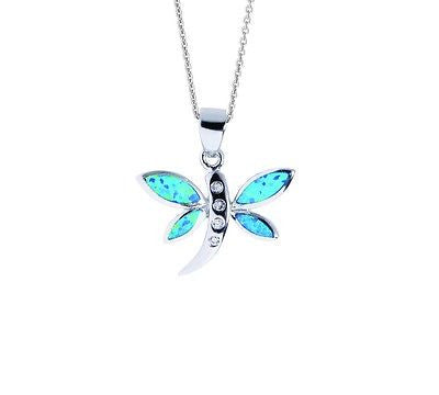 .925 Sterling Silver Butterfly Dragon Fly CZ Charm Necklace Lab Opal 18""