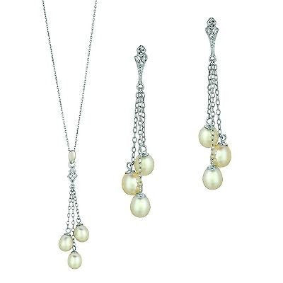 Sterling Silver Fresh Water Cultured Pearl CZ Drop Necklace & Earrings Set