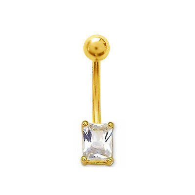 14k Solid Gold Princess Cubic Zirconia Belly Button Navel Ring Body Art