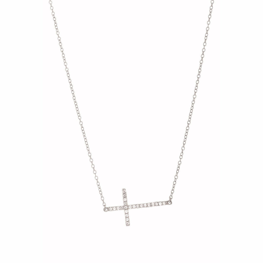 Sterling Silver CZ Sideways Cross Necklace 18""
