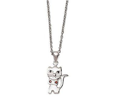 .925 Sterling Silver Cat Kitty Kitten CZ Charm Pendant Necklace 18""