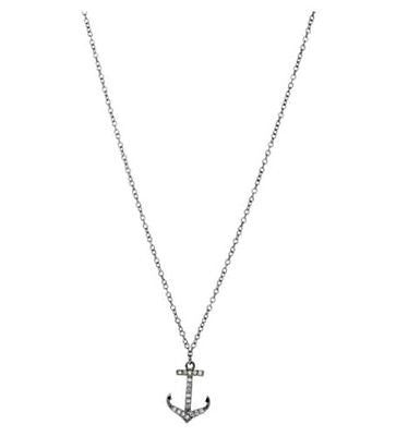 .925 Sterling Silver CZ Anchor Pendant Necklace 18""