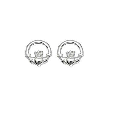 .925 Sterling Silver Claddagh Cladaugh Stud Earrings 10mm Small