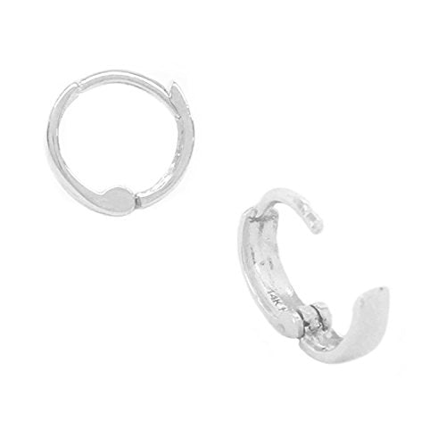 14k Solid White Gold Baby Huggy Huggies Earrings Hoops 2.5 X 9mm {Small}
