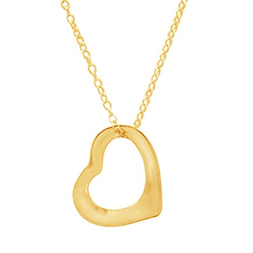 RitaStephens Sterling Silver or gold-tone open floating heart pendant necklace 18 Inches