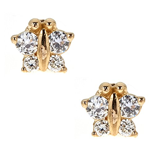 14k Yellow Gold Cubic Zirconia CZ Mini Butterfly Small Stud Screw Back Earrings